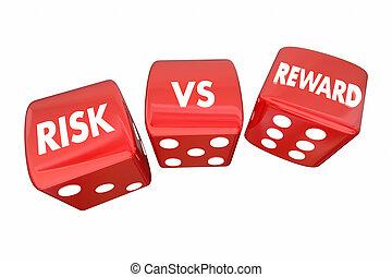 ryzyko, vs, nagroda, kołyszący, jarzyna pokrajana w kostkę, roi, słówko, 3d, ilustracja