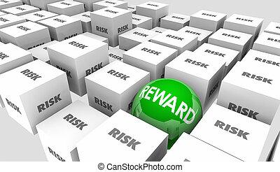 ryzyko, vs, nagroda, powrót na lokacie, wyniki, wynik, 3d, ilustracja