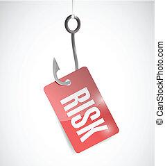 ryzyko, wędkarski, pojęcie, ilustracja