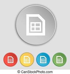 rząd, dokument, ikona, poznaczcie., symbol, na, piątka, płaski, buttons., wektor