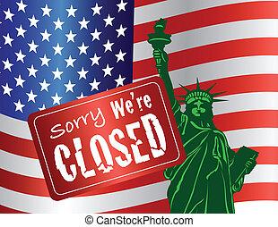 rząd, zamknięcie, statua swobody