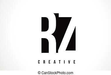 RZ R Z White Letter Logo Design with Black Square. - RZ R Z...