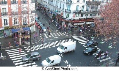 rześki, paryż, crossroads, francja, prospekt., górny