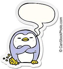 rzeźnik, klapiąc, stopa, bańka mowy, rysunek, pingwin