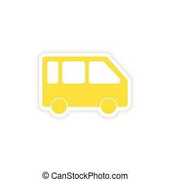 rzeźnik, realistyczny, papier, projektować, minivan, ikona