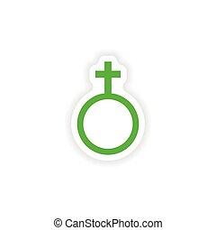 rzeźnik, realistyczny, papier, projektować, samica, ikona