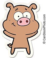rzeźnik, szczęśliwy, rysunek, świnia
