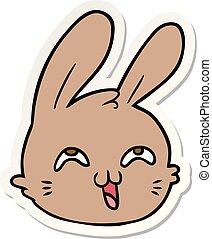 rzeźnik, szczęśliwy, rysunek, królik, twarz