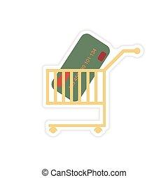 rzeźnik, wóz, papier bank, szykowny, karta