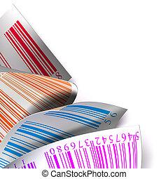 rzeźnik, wielobarwny, tło, biały, etykieta, na, barcodes
