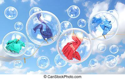 rzeczy, padając, mydło bańki, pojęcie, od, czysty, myć, i,...