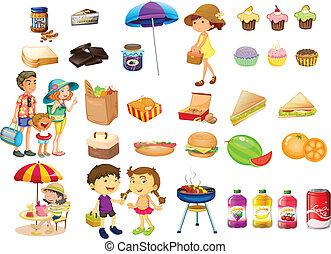 rzeczy, pokarmy, komplet, piknik