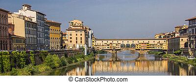 rzeka arno, i, ponte vecchio, w, florencja