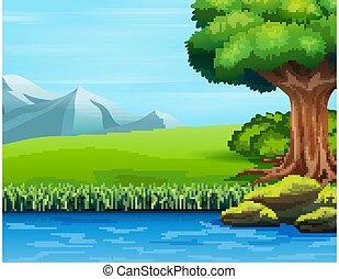 rzeka, cielna, ilustracja, drzewo