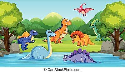 rzeka, dinozaury, drewno, scena