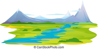 rzeka dolina, w, góry