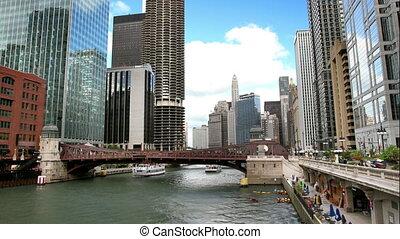 rzeka, drapacze chmur, chicago