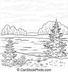 rzeka, krajobraz., las, szkic