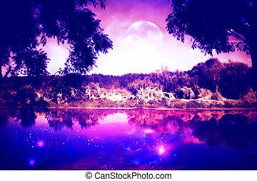 rzeka, las, noc