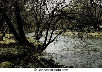 rzeka, na, zmierzch