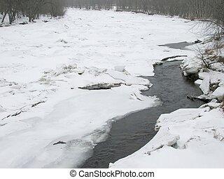 rzeka, od, lód