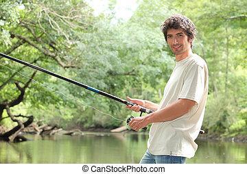 rzeka połów, człowiek
