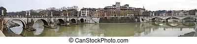 rzeka tiber, w, rzym, włochy