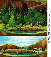 rzeka, zielony las, krajobraz