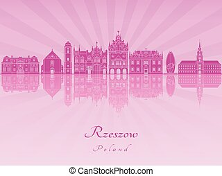 Rzeszow skyline in purple radiant orchid