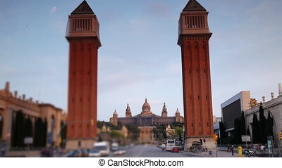 rzucać się, plac, espana, wieczorny, od, wcześnie, barcelona...