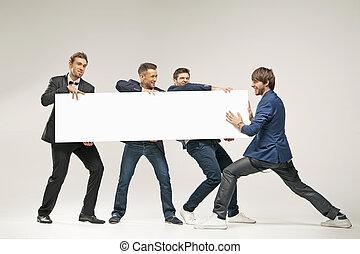 rzutki, grupa, deska, mężczyźni, przystojny