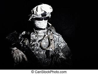 rzutnik, lekki, oślepiający, żołnierz, wojska, szczególny