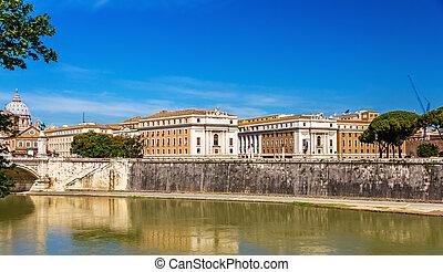 rzym, miasto, na, przedimek określony przed rzeczownikami, tiber rzeka