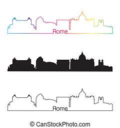 rzym, sylwetka na tle nieba, linearny, styl, z, tęcza