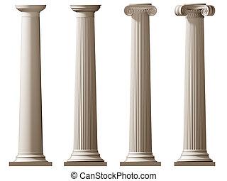 rzymski, dorycki, i, joński, kolumny
