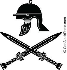 rzymski, hełm, i, swords., kwarta, var