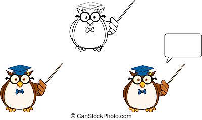 sábio, coruja, professor, 3., cobrança, jogo