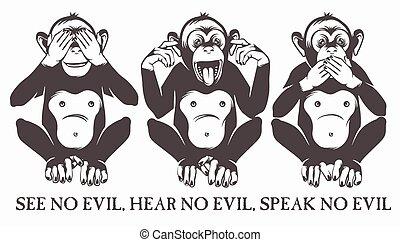 sábio, macacos, três