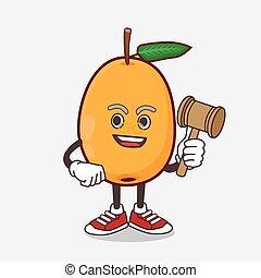 sábio, mascote, juiz, fruta, caricatura, loquat, personagem