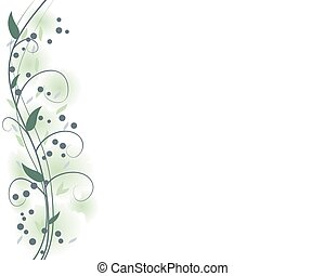 sábio, verde, floral, borda, quadro