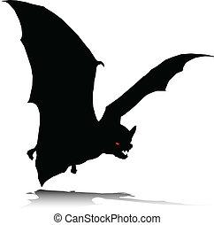 sám, netopýr, vektor, silhouettes