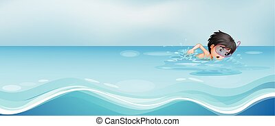 sám, sluha, kaluž, plavání