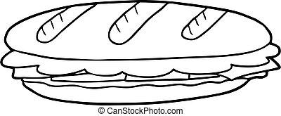 sándwich de baguette, caricatura