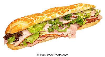 sándwich de baguette, jamón, asado