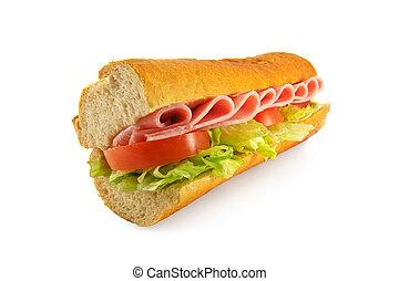 sándwich de baguette, jamón, ensalada