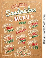 sándwiches, menú, kraft