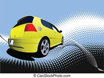 sárga autó, autó, képben látható, a, road., vect