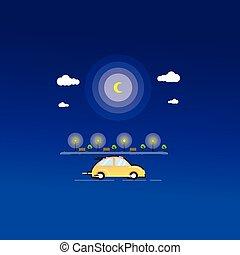 sárga autó, az úton, vektor, művészet
