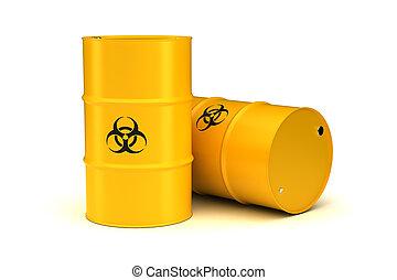 sárga, biohazard, hulladék, hengerek