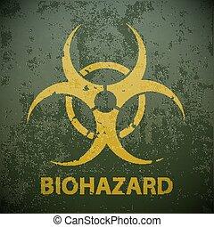sárga, biohazard jelkép, képben látható, egy, zöld, hadi, háttér., figyelmeztetés
